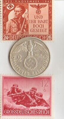 ('SS'-MACHINEGUNNERS commandos) -*WW2-two RARE stamps +*german SILVER EAGLE coin