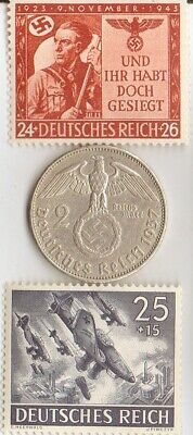 (SHUKA- bumers)  -*WW2-two RARE stamps +*german SILVER EAGLE coin