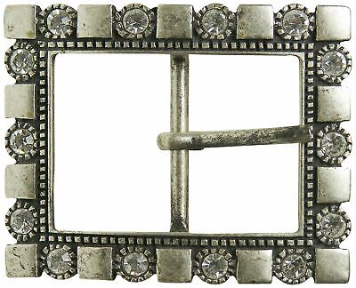 "FRONHOFER Silver belt buckle with rhinestones + embellishment for women 1.5""/4cm"