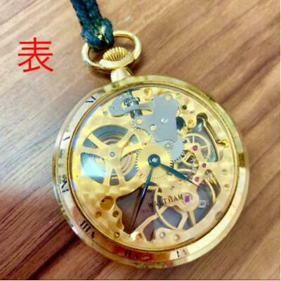 WALTHAM Pocket Watch Rare Double Sided Skeleton Antique Pocket Watch