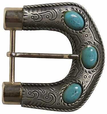 "FRONHOFER Turquoise embellished buckle for women, silver, 1.5""/4cm"