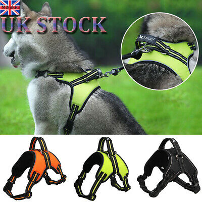 UK Large Dog Harness Collar Lead Adjustable Padded Non Pull Vest Puppy Size S-XL