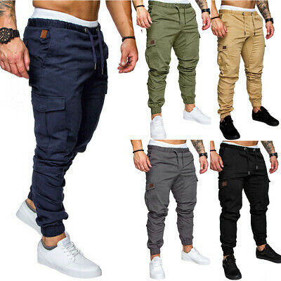 Mens Cargo Combat Work Trousers Elasticated Waist Joggers Slim Fit Bottoms Pants