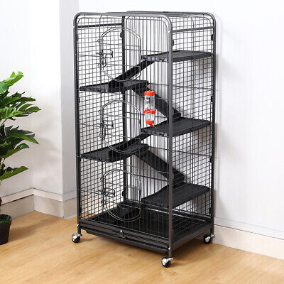 Small Pet Run Cage Rabbit Guinea Pig Hutch Metal Hide Shelter 132cm with Wheels