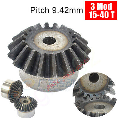 3 Mod Bevel Gear 15-40 Teeth 45 Degree Straight Bevels 9.42mm Pitch Carbon Steel