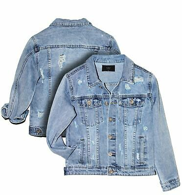 Girls Denim Jacket Blue Jean Jacket Diamante Ripped Age 5 7 8 9 10 12 14 Years