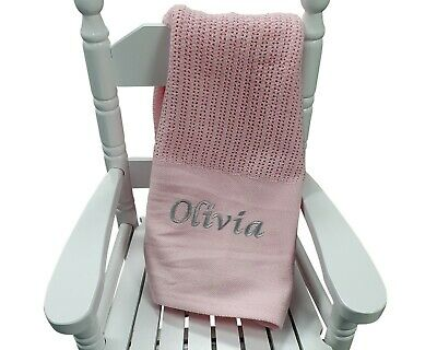 Personalised Pink Cellular Blanket Newborn Blanket Embroidered Baby Girl Gift