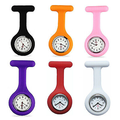 SILICONE GEL Nurses Fob Watch (Washable, Infection Free)White D4I3
