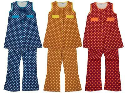 Girls Vintage Polka Spot Tunic Apron Flare Trouser Suit Modette Set 3 to 6 Years