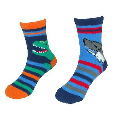 New Jefferies Socks Children's Dinosaur Shark Slipper Socks (2 Pair Pack)