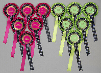 2-Tier Rosettes x6 Hot Pink/Green/Blue &Black Spot-Special/Well Done/Clear Round