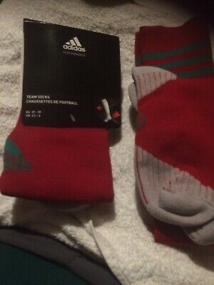 1 PAIR ADIDAS Adisock 12 Football Sock (Green Red) 4.5 to 6 NEW. R.R.P 6.99