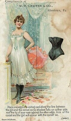 Victorian W.R.Lawfer Co Corsets Allentown PA Trade card A6