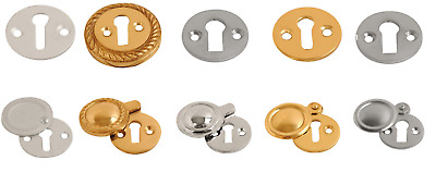 Key Hole Cover Escutcheon Open or Covered in Brass Chrome Satin Aluminum Keyhole