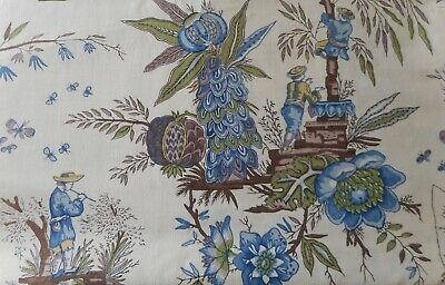 Antique Vtg. French Country Bird Indienne Floral Toile Cotton Fabric~Blue  Olive