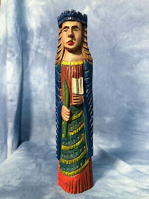 """Vintage 12"""" Wooden Hand Carved and Painted Royal King Queen Figurine"""