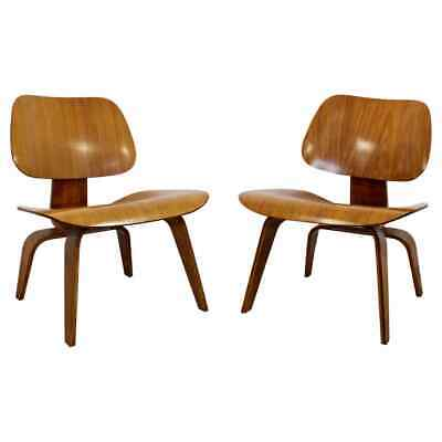 Mid Century Modern Pair Early Rare Charles Eames LCW Lounge Side Chairs 50s