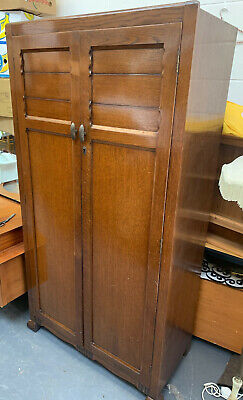 Vintage Gentlemans Wardrobe Compactum Shelves Drawer Glass Door Mirror MCM Old