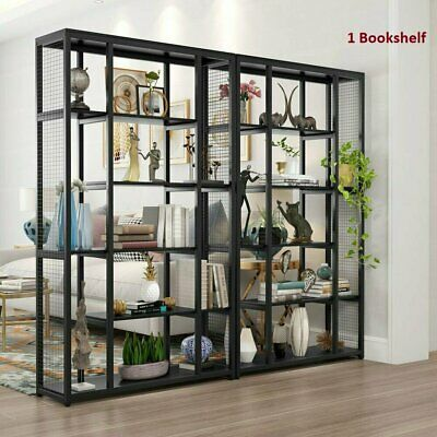 Industrial Office Bookcase with Metal Mesh Display Shelf Storage for Living Room