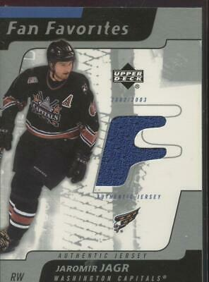2002-03 Upper Deck Hockey UD JAROMIR JAGR Game Used Jersey Relic Fan Favorites