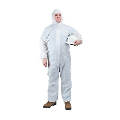 Microporous Polypropylene Disposable Coverall with Hood, Zipper, Elastic Wrist