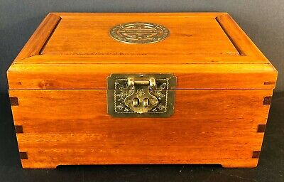 Vintage Chinese Rosewood Jewelry Box with Lined Blue Silk