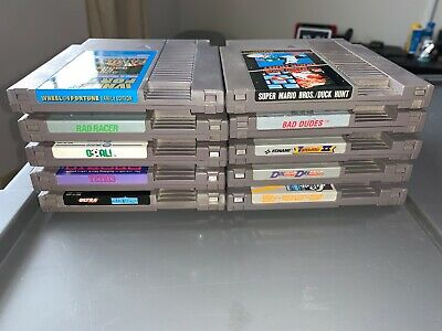 Lot Of 10 Nintendo NES Games Bad Dudes Mario Bros Rad Racer Goal Tetris