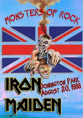 Iron Maiden vintage poster Monster Of Rock Donington Park UK 1988  A4 Size Repro