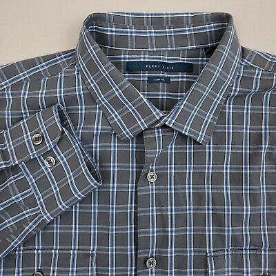 Perry Ellis Mens Button Up Shirt Long Sleeve Large Slim Fit Plaid Gray & Blue