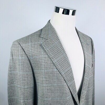 Brooks Brothers 44R Sport Coat Silk Wool Gray Houndstooth Two Button Vented
