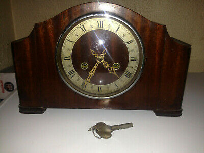 Vintage Enfield Wooden Chiming Mantel Clock with key - not working