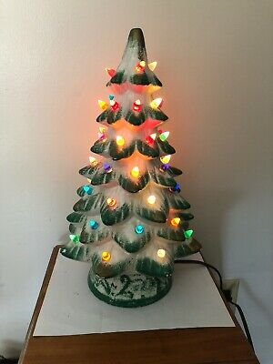 """Vintage 16"""" Lighted Ceramic Christmas Tree - White Green And A Little Gold Nice"""