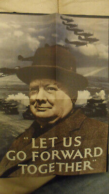 World War Two Winston Churchill Go Forward Together  Poster A4//A3//A2//A1 Print