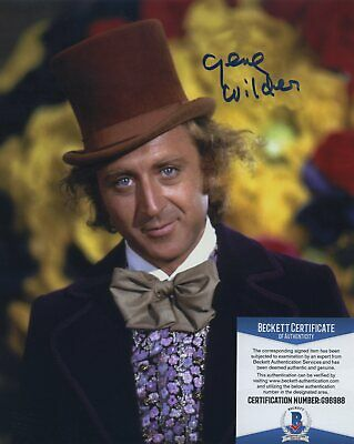 GENE WILDER SIGNED AUTOGRAPHED WILLY WONKA COLOR 8x10 PHOTO BAS BECKETT COA