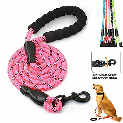 5ft Heavy Duty Dog Leash Training Dog Rope Night Reflective Nylon Padded Handle