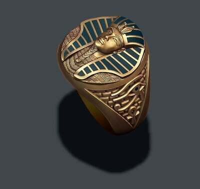 Retro 18K Gold Filled Ancient Egyptian Sphinx Band Ring Men's Party Jewelry New
