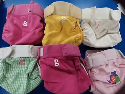 G Diapers lot of 6 medium  gpants  inserts cloth diaper liner  any girl owl pink
