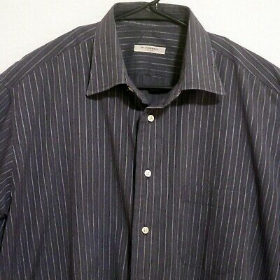 Burberry Mens Long Sleeve Front Button Shirt Size 17 XL Charcoal Gray Striped
