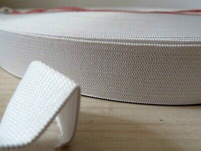 25mm 1 inch wide white sturdy elastic by the meter