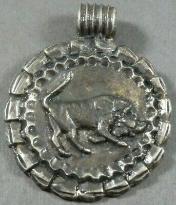 Ancient Roman Silver Legionary Military Amulet Bull Locket Pendant Circa 50 AD