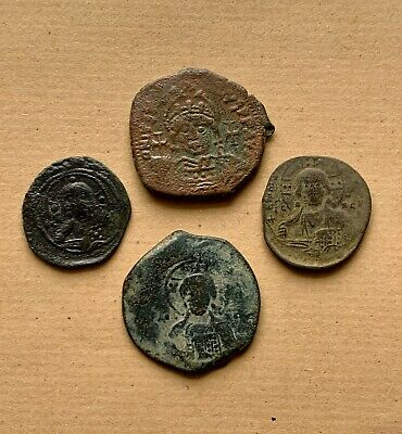 An interesting lot of 4 bronze byzantine follis including anonymous types. Nice!