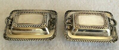 Vintage pair of silver plated decorative miniature butter dishes with covers