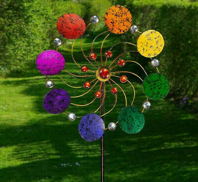 CIM Windrad Windspiel Exotic Flower Rainbow Metall Gartenstecker Deko Kugellager