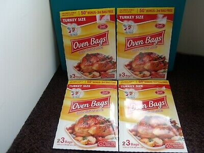 Lot of 4 (3-ct. Bags) Home Select Big Chef Turkey-Size Oven Bags 19in X 23.5in