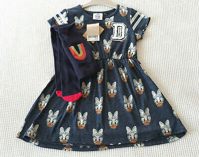 Next Baby Girls Navy Daisy Duck Dress & Navy Tights Age 18-24 Months BNWT