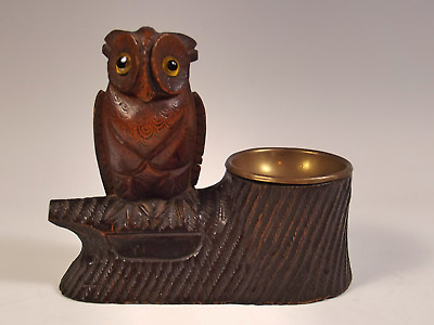 19th c. BLACK FOREST CARVED WOOD OWL MATCH STRIKER