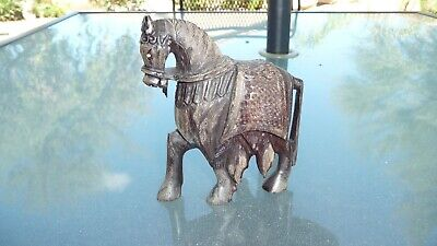 Antique Hand Carved Wooden Trojan Horse
