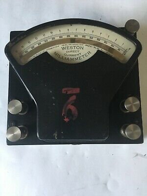 Vintage Weston Electrical Instruments Direct Current MilliAmmeter 10010-1298
