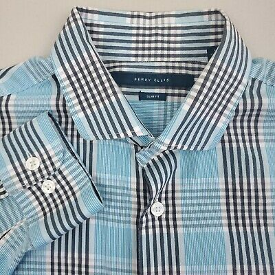 Perry Ellis Mens Button Up Shirt Long Sleeve Size Medium Slim Fit Plaid Blue