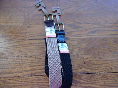 Dockers Men's Elastic Braided Stretch Belt with Leather Tabs